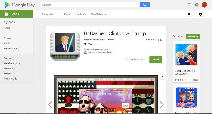 """Google Drops the Ball: Reinstatement of the Alt Right-Friendly Mobile Game, """"BitBashed: Clinton vs Trump"""""""
