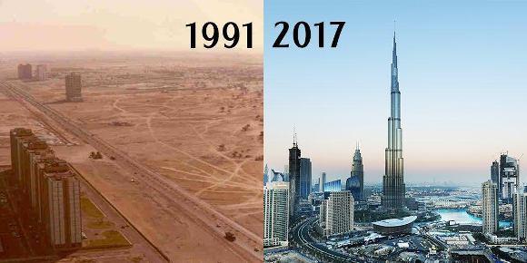 Dubai in 1991 vs 2017