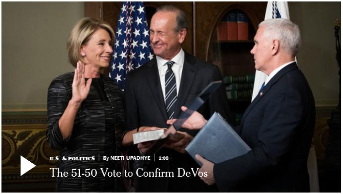 Secretary of Education DeVos's Historic Confirmation and Why The Democrats Despise Her