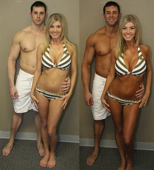 tanned guy, tanned girl