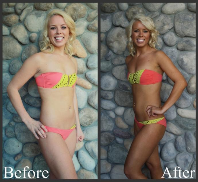 Tanned girl, before and after