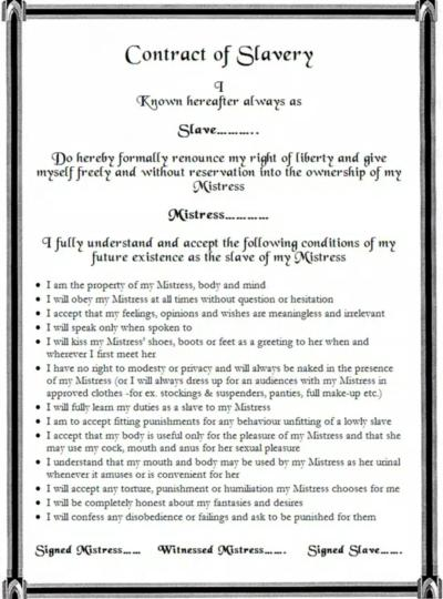 Sex slave contract