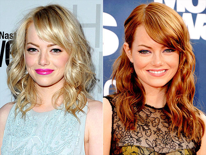 Left: Emma Stone as blonde Right: Emma Stone with orange hair dye