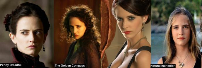 Eva Green often has black hair in her roles. The picture to the right is her natural hair color.