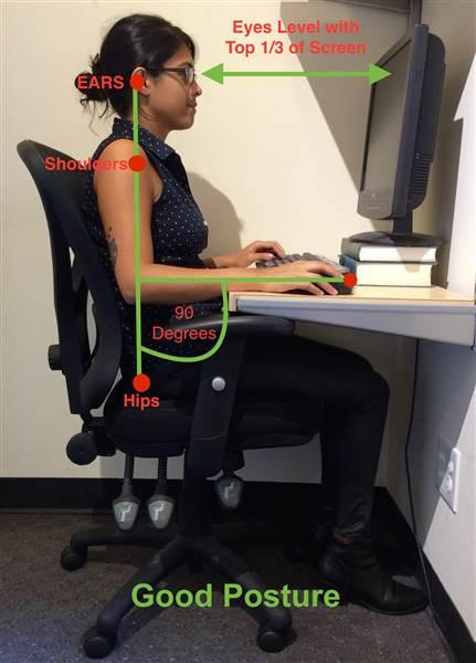 Maintaining good posture can minimize the effects of staying in the same position for long periods.