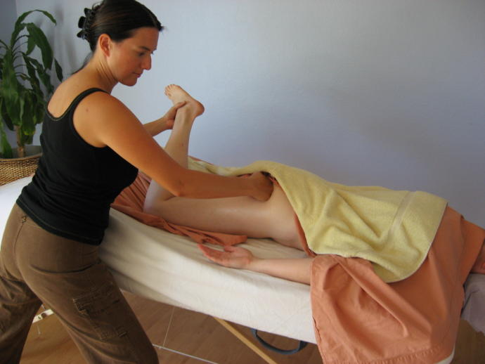 Open fist compressions to the gluteals.