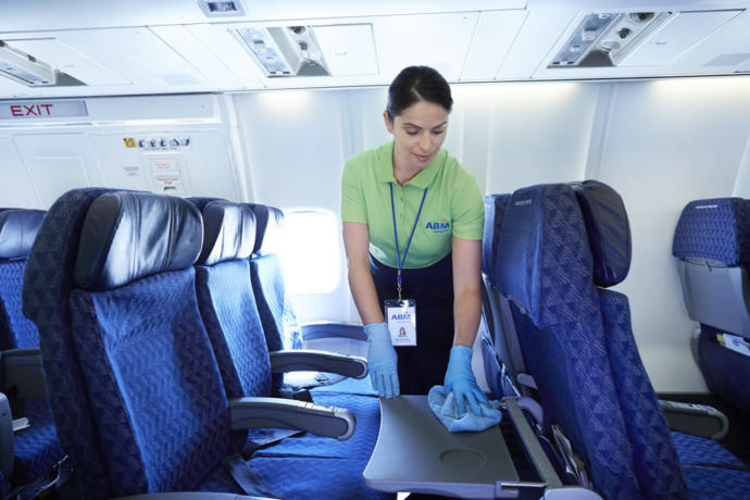 This may NOT happen between flights, so, DIY with disposable wipes.