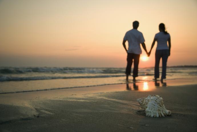 Romantic walk along the beach