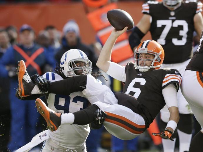 Cleveland Brown's Former QB Brian Hoyer getting thrown around like a pancake by a larger man.