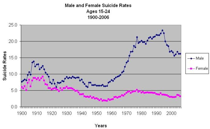 Stress caused by feminism has caused men to commit more suicide.