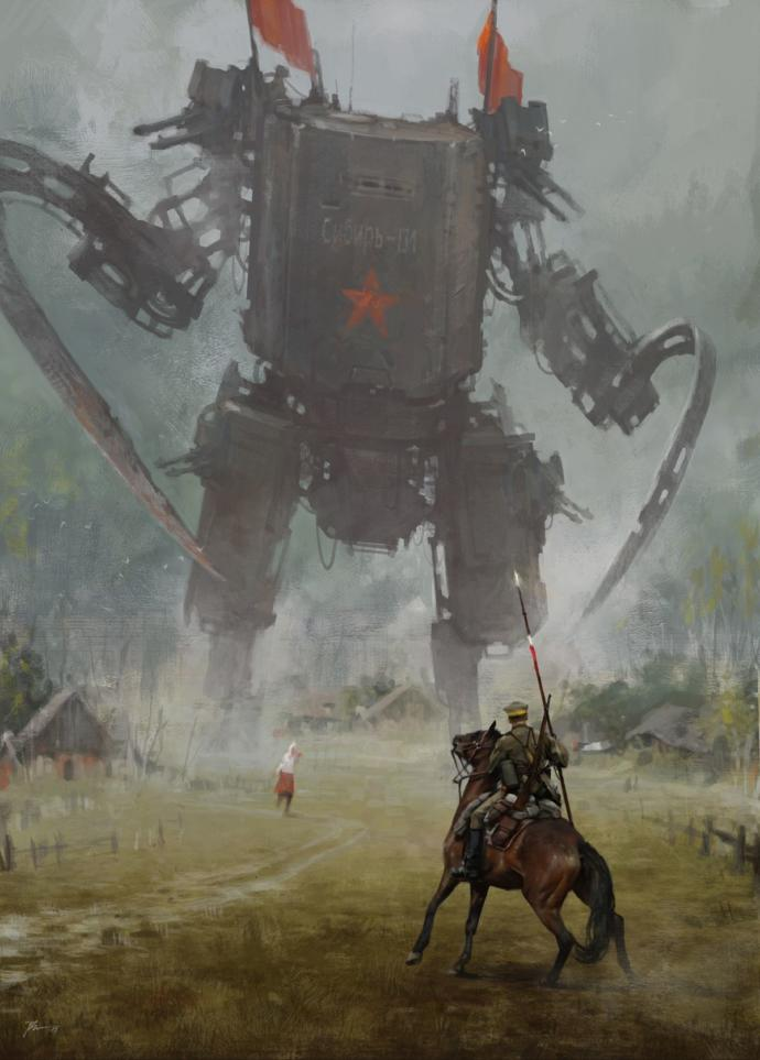 A steampunk symbolic drawing, showing a Polish Cavalry man staring down the red menace.