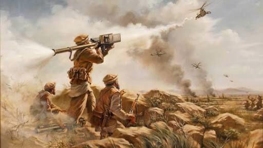 Drawing of mujahideen battling Soviet forces