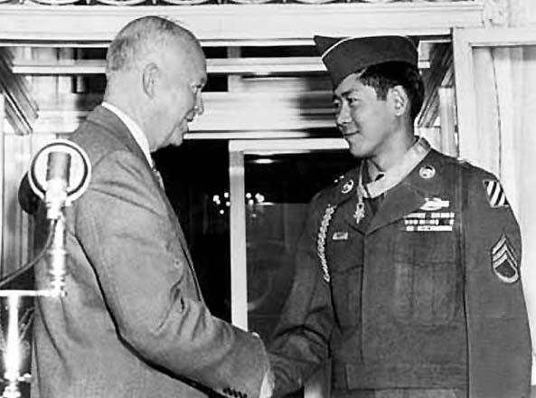 "Hiroshi ""Hershey"" Miyamura receiving Medal of Honor from Dwight Eisenhower"