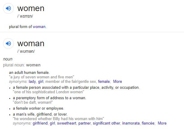 women - plural form of woman