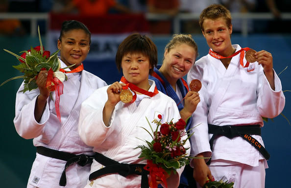 Masae with her gold medal.