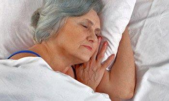 Old woman getting sleep