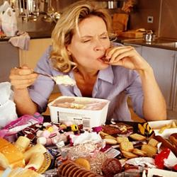 Woman Stress Eating.
