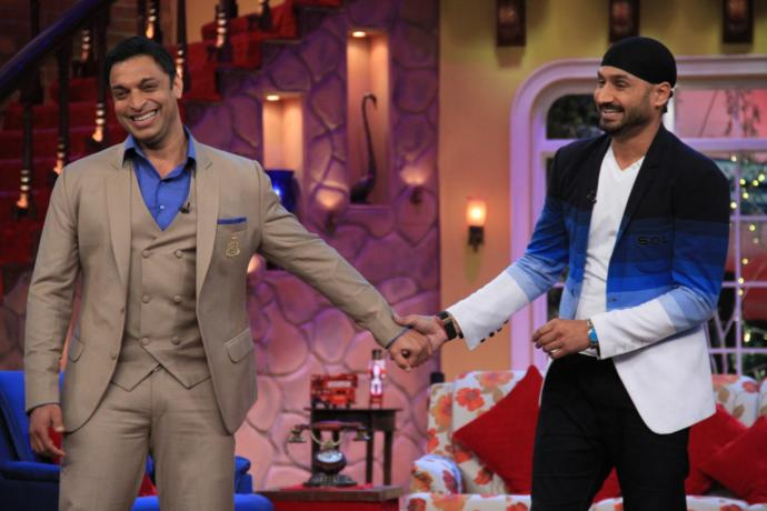 Pakistani cricketer called Shoaib Akhtar with an Indian cricketer in an Indian show