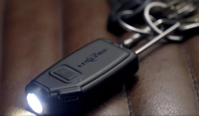 The SureFire Sidekick. I personally carry this light as its quite powerful for its size, rechargeable, and small.