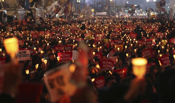 Protestors calling for the resignation of ex-South Korean President Park Geun Hye in November of 2016.