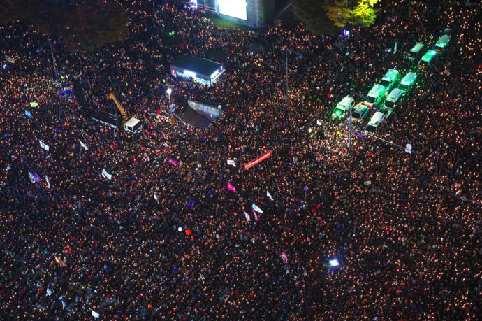 Protestors at an anti-government rally in central Seoul in November of 2016.