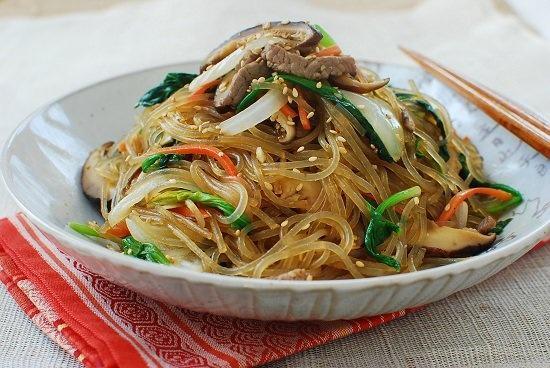 Japchae, translates literally to mix of vegetables