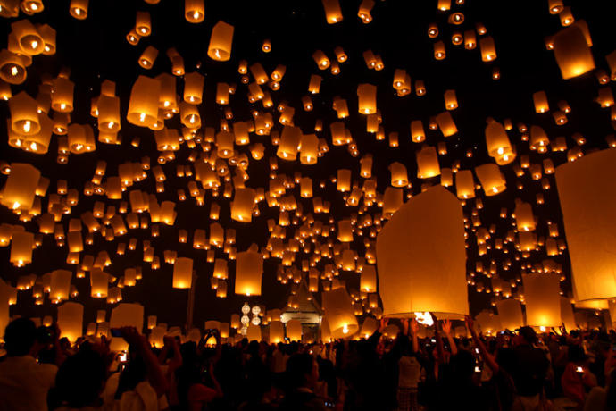 Pingxi Sky Lanterns during the Mid-Autumn Festival in Taiwan