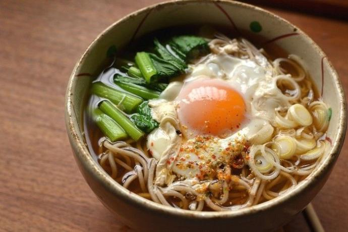Hot Soba (buckwheat) noodle soup with a raw egg on top