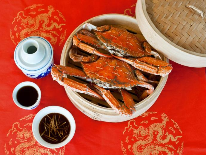 Steamed Hairy Crabs, served with ginger and vinegar