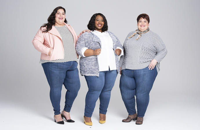 A plus-size ad for women's jeans
