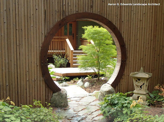 'Moon Gate', an element of Japanese garden. Through this portal is the internet...