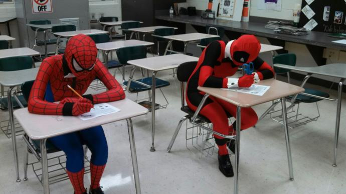 Spidey and Deadpool studying