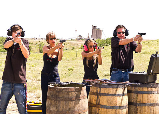 Family at shooting range