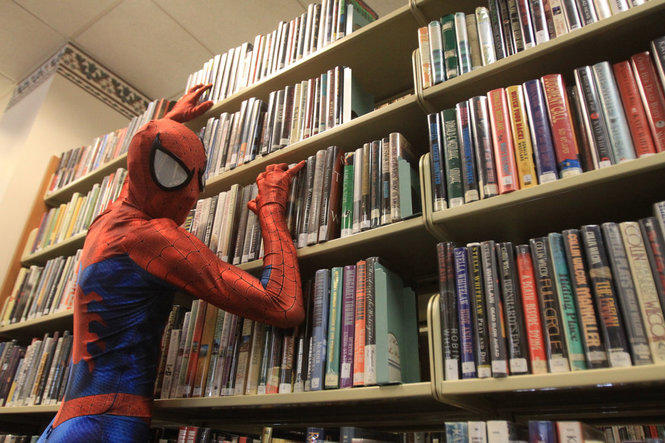 Even Spider-Man goes to the library xD