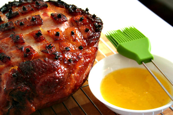 Ham studded with cloves.