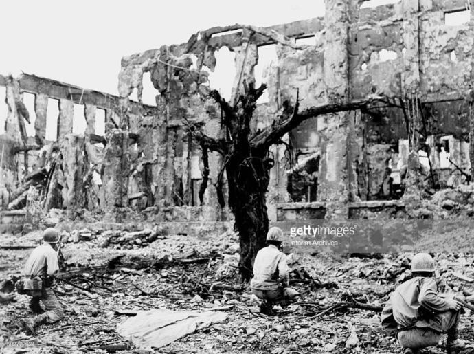 An actual photo of the ruins of Shuri Castle