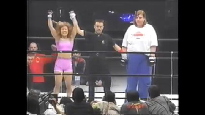 "The 5'3"" 134lb Megumi Yabushita victorious over the 6'3"" 330lb Svetlana Guandarenko"