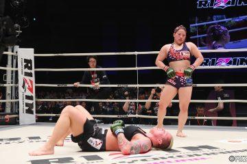 "The 5'3"" 160lb Reina Miura standing victorious over the 6'1"" 190lb Jazzy Gabert"