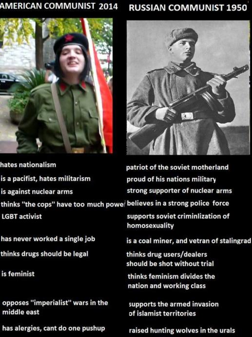 A meme showing the difference between a neo-commie and a Soviet
