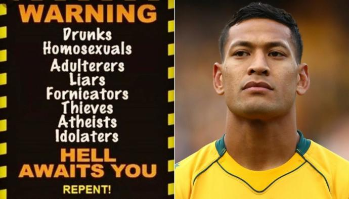 Israel Folau (Right) is being targeted for being homophobic after posting the image (Left) on his Instagram which expresses his r