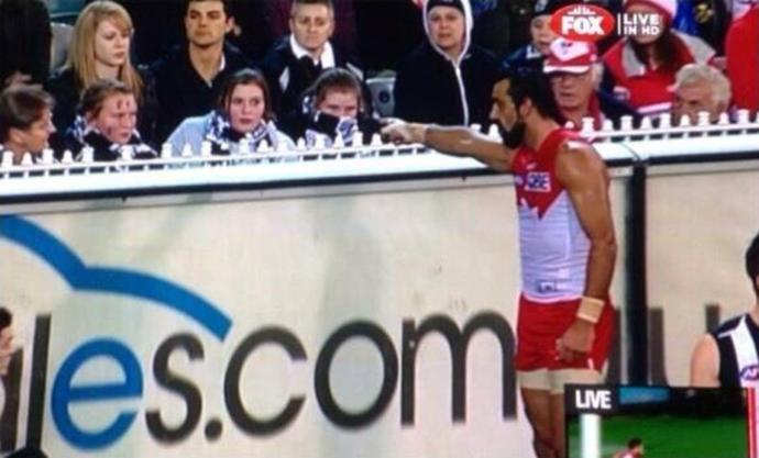 Adam Goodes calling out the 13 year-old girl for calling him an ape