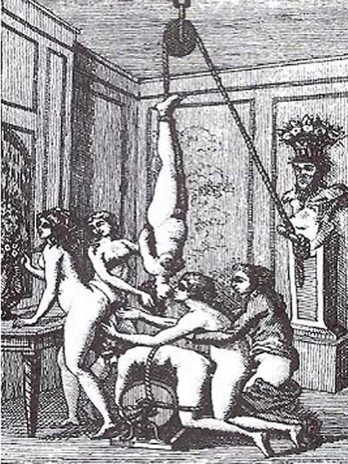 One of de Sades Graphic Bondage Scenes