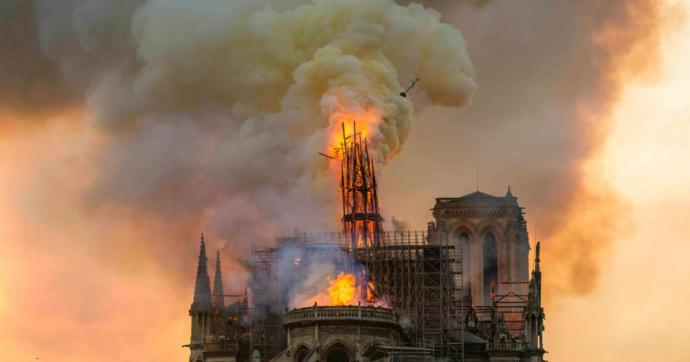 Burning of the Notre Dame in Paris.