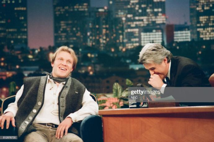 Hermann Maier with Jay Leno (he was there with Arnold Schwarzenegger)