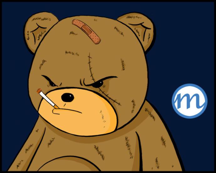 Judgy Bear. Hes had a tough life. Cut him some slack.