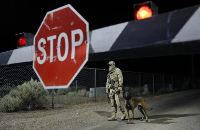 Camo dude with Military K9 at the back gate, during the Area 51 meme event.
