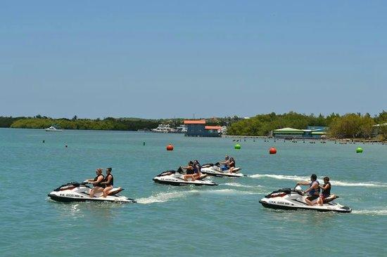 Jet skiing is a very common hobby.