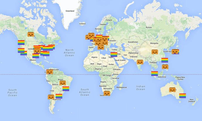 Google maps now provides a real-time tracker of gay-pride parades on a global level