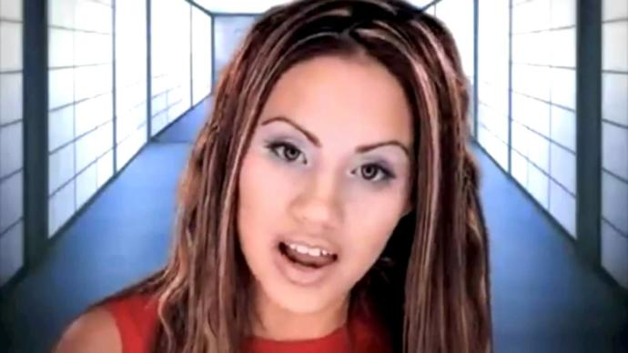 """Christian artist Rachel Lampa in her music video """"Savior Song"""" in the early 2000s."""