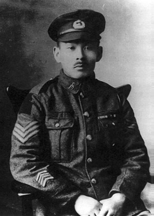 Masumi Mitsui in his Canadian military uniform